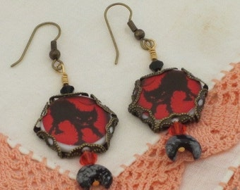 Electric BlACK CATs  - HALLOWEEN EARRINGS -  Crescent Moon -  Witch Dangles