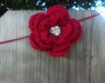 Red flower headband, crochet headband