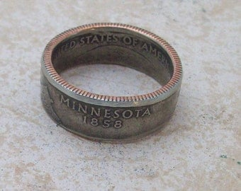 Made To Order CoPPeR NiCKLe HaNDMaDe Jewelry MINNESOTA STaTe QuaRTeR RiNG CHRiSTMaS GiFT or SToCKiNG STuFFeR You Pick the Size 5-10