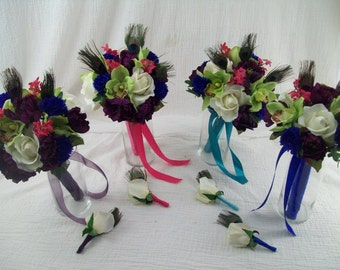 RaSBeRRY PeaCoCK 8 Piece Purple, Royal Blue, Green, Hot pink  Peacock Wedding Flower Package Roses, Orchids, Bacholour Buttons