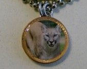 "Lucky Penny Pendant COUGAR Charm with 24"" Chain Necklace Big Cat Meow!"