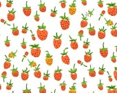 JERSEY KNIT - Briar Rose by Heather Ross for Windham Fabrics, strawberry in orange, 1 yard - pinkedfabrics