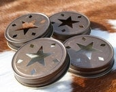 CLEARANCE SALE 5 Rustic Bronze Star Cut Mason Jar Lids