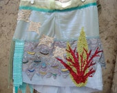 Mermaid skirt sea foam mini skirt beach resort wear beaded embroidered floaty under the sea seaweed starfish boho gypsy