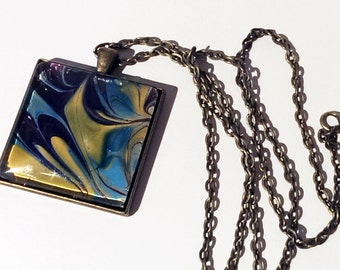 Multicolored Antique Bronze Square Pendant & Rolo Chain - Hand Painted Portable Art Necklace. Art to Wear around Your Neck!