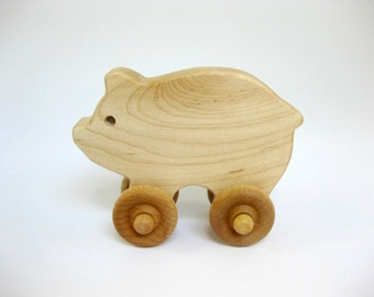 Wooden Pig Push Toy, organic wood toy