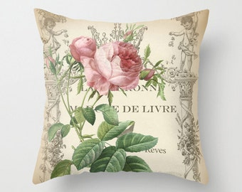 Throw Pillow Cover - Pink Rose on Vintage Ephemera - 16x16, 18x18, 20x20 - Pillow case Original Design Home Décor by Adidit