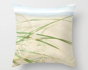 Pillow Cover, Beach Pillow, Beach Grass Pillow, Lime Green Pillow, Ocean Photo Pillow, Living Room Decor, 16x16 18x18 20x20 Throw pillow