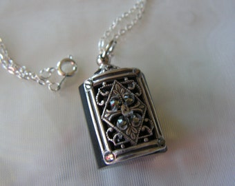 Crystal And Silver Perfume Or Essential Oil Bottle Necklace