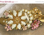 25% OFF SALE OOAK pink and white flowers and faux pearl covered repurposed vintage collage barrette  for wedding