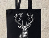 Elk Antlers and Birds - Black Cotton Canvas Tote Bag