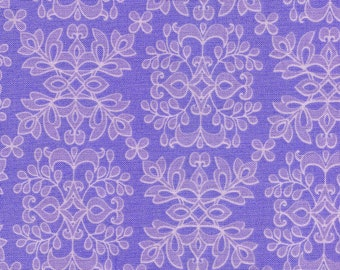 RILEY BLAKE - FQ Purple Damask Quilt Sewing Fabric Isabella
