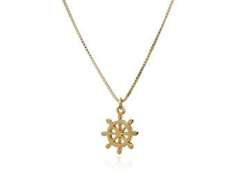Tiny Ship Wheel Necklace Gold 18k Vermeil Nautical Minimalist Helm Rudder Pendant Jewelry