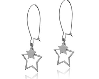 Starry Night Earrings Sterling Silver 925 Long Wire Dangle Earrings Star jewelry