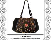 PDF Sewing Pattern Tina Purse, large pieced fabric bag with two handles or shoulder strap, three variations.