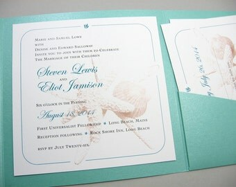 Beach Wedding Invitation Pocketfold Starfish Sea Shell Photo Illustration Custom Ocean Teal Blue Pocketfold