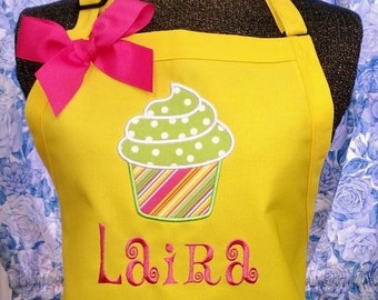 Personalized Apron Cupcake Applique Lots of Colors