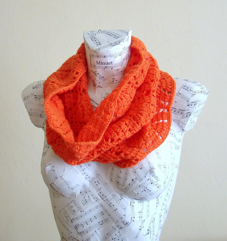 sale handmade crochet orange infinity scarf winter scarves
