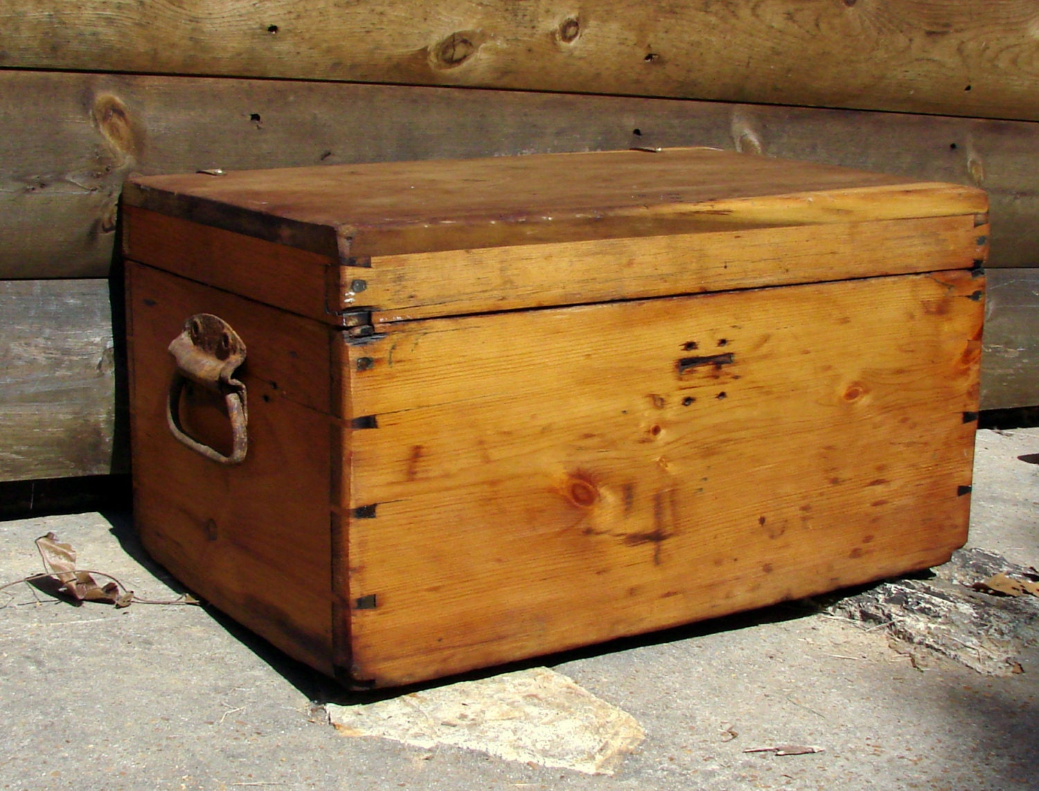 Wooden Chest Hardware ~ Old wooden chest heavy duty iron handles antique hinges well