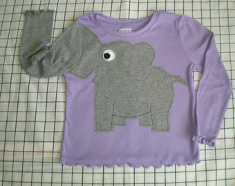 Elephant trunk sleeve shirt tshirt  toddler girls 4T Lavender