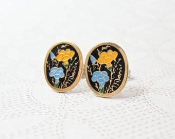 Floral Enamel Earrings - Yellow & Blue Flowers - Oval - Surgical Steel Earrings - Stud Earrings