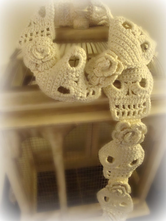 Crochet Pattern For Skull Shawl : Crochet Skull Scarf Pattern With Roses PDF by WickedCrochet71