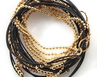 Gold and Black Leather Warp Bracelet