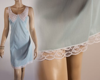 Adorable really sheer pretty soft aqua nylon and delicate white sexy floral lace bodice detail 1970's vintage full slip petticoat - 2395