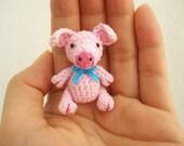 Mini Pink Pig - Crochet Miniature Piggy Stuffed Animals - Made To Order