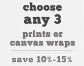 Any 3 Fine Art Prints or Gallery Wrap Canvases. Discounted Print Set, Canvas Collection, Large Wall Art, Wall Gallery Art Set.