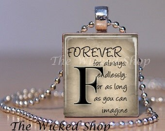 Scrabble Tile Jewelry - Scrabble Tile Pendant Necklace -Definition of Forever -  Letter F- Scrabble Tile Art -  (INSPFOREVER)