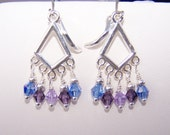 Purple blue Swarovski dangle earrings