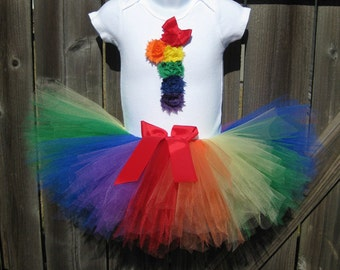 First Birthday Rainbow Rosette Number 1 Tutu Set and Matching Headband | Second Birthday Rainbow Outfit |  Circus Birthday Outfit |