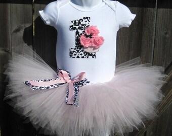 Baby's First Birthday Pink and Black Damask Cupcake Tutu Set and Matching Headband | Birthday Photo Prop, Party Dress