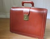 Vintage Briefcase, Retro Laptop Case, Deep Buff ,Cowhide,  Davids of Hollywood-,1950s, 1960s.