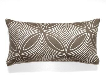 Lumbar Pillow Cover 8x16 Petite Lumbar Beige Geometric Upholstery Fabric Decorative Pillow Oblong Throw Pillow Cover