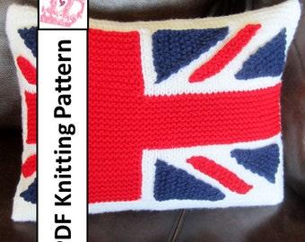 "PDF KNITTING PATTERN, Union Jack, British Flag pillow cover, Union jack knitting pattern, 12""x16"""