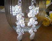 Real pearl earrings, Freshwater pearls, Bridal earrings, pearl cascade earrings, Swarovski crystal, Pearl and crystal earrings