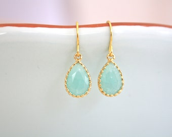 Gold Earrings, Mint Earrings, Bridesmaid Earrings, Tiny Jewelry, Flowergirl earrings, bridesmaid earrings, gifts for teens, birthday gift