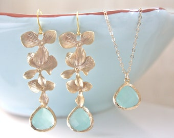 Jewelry Set, Gold Earrings, Gold Necklace, Bridesmaid Jewelry, Bridesmaid gifts, Aqua Earrings, Bridal Set, Gifts for Her Floral Earrings