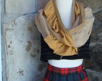 RUFFLED CASHMERE SCARF vintage upcycled remade gold distressed