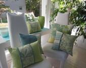 Decorative Pillow - Hampton Bay Beach Pillow - 15 x 15 Designer Pillow - Dusk Blue and Seaglass Green