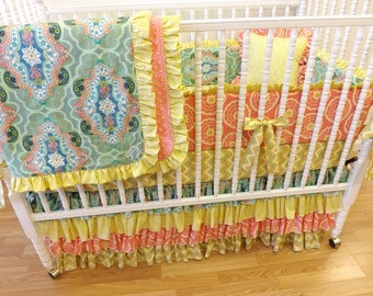 Girl Crib Bedding- Baby Bedding- MADE to ORDER- Girl Crib Bedding Set