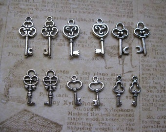 12 small key charms in silver tone - C1566