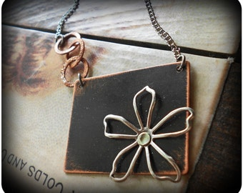 Artisan Rustic Darkened Copper Pendant with Silver Flower