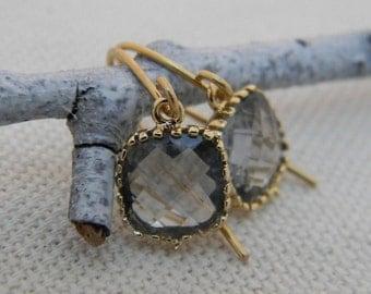 Charcoal Gray Earrings - Dangle Earrings-Bridesmaid Earrings - Wedding Earrings -  Bridal Earrings-Junior Bridesmaid Gift