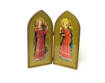 Angel Diptych- Vintage Florentine- Reminder- Religious Collectibles- Decor- Christian FAITH- Reminder- Pair