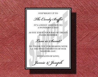 Wedding Candy Bar/Buffet Sign, Printable Wedding Candy Bar or Buffet Sign