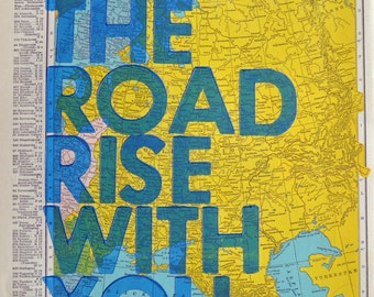 Eastern Europe / May The Road Rise With You/ Letterpress Print on Antique Atlas Page