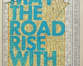 Iowa / May The Road Rise With You/ Letterpress Print on Antique Atlas Page